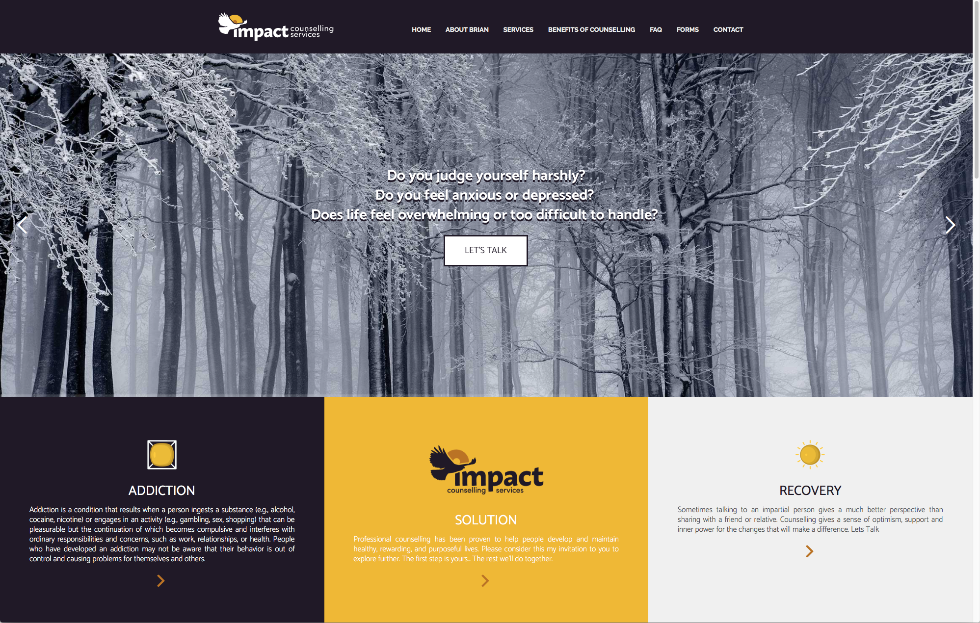Impact Counselling Website Home Page